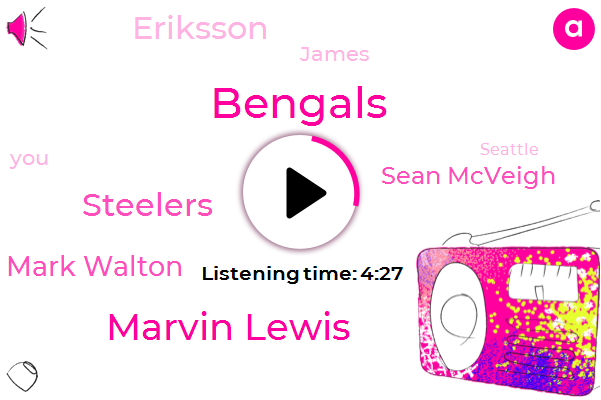 Bengals,Marvin Lewis,Steelers,Mark Walton,Sean Mcveigh,Eriksson,James,Seattle,Central Stadium,Bush,John,Zaza,Fifty One Yard,Twenty Yards,Fifty Yard,Two Weeks,Two Yards