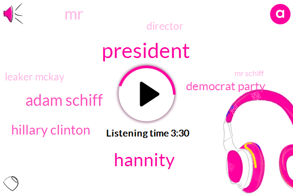 President Trump,Hannity,Adam Schiff,Hillary Clinton,Democrat Party,Director,Leaker Mckay,Mr Schiff,Special Counsel,Loretta Lynch,Mr Mccabe,Mr Komi,Donald Trump,Prosecutor,Mr Rosenstein,Russia,Mr Muller