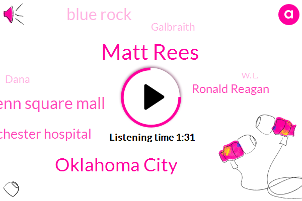 Matt Rees,Oklahoma City,Penn Square Mall,Health Westchester Hospital,Ronald Reagan,Blue Rock,Galbraith,Dana,W. L.,Michelin,Rob Williams