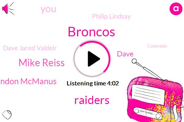Broncos,Raiders,Mike Reiss,Brandon Mcmanus,Dave,Philip Lindsay,Dave Jared Valdeir,Colorado,Mcmahon,Dave Logan,Denver,Ravens,Mike,One Hundred Sixty Eight Yards,Fifty Three Yard,Thirty Minutes,Thirty Seconds,Twenty Minutes,Six Seconds