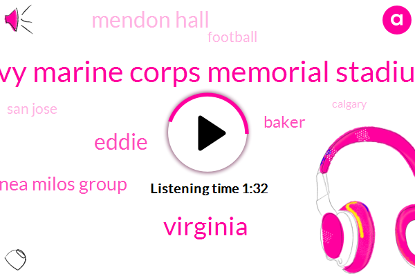Navy Marine Corps Memorial Stadium,Virginia,Eddie,Cananea Milos Group,Baker,Mendon Hall,Football,San Jose,Calgary,IRA,Abby,Kenny,Fifteen Minutes