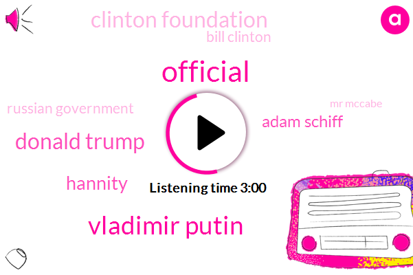 Official,Vladimir Putin,Donald Trump,Hannity,Adam Schiff,Clinton Foundation,Bill Clinton,Russian Government,Mr Mccabe,DNC,Chairman,Hillary Clinton,Director,Mr Schiff,President Trump,Mr Muller,Loretta Lynch