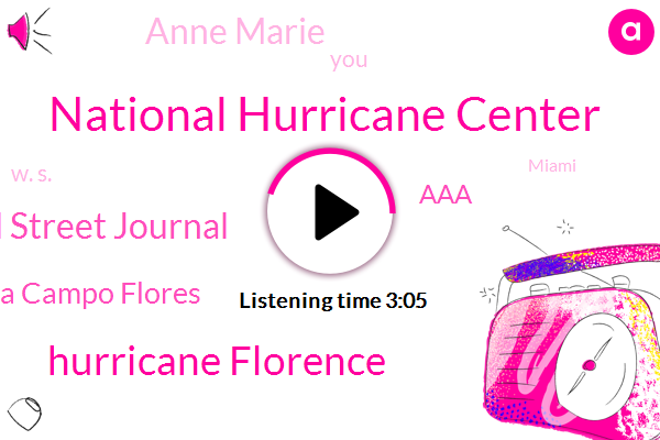 National Hurricane Center,Hurricane Florence,Wall Street Journal,Arianna Campo Flores,AAA,Anne Marie,W. S.,Miami,New York,Reporter