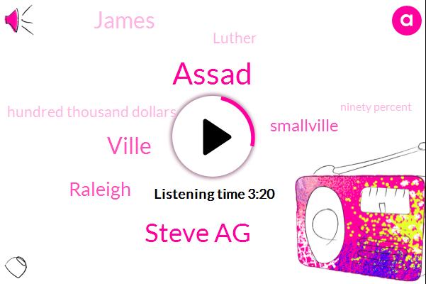 Assad,Steve Ag,Ville,Raleigh,Smallville,James,Luther,Hundred Thousand Dollars,Ninety Percent,Ten Years
