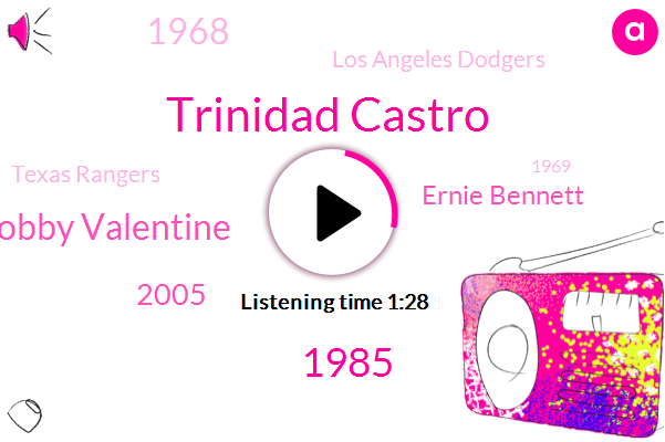 Trinidad Castro,1985,Bobby Valentine,2005,Ernie Bennett,1968,Los Angeles Dodgers,Texas Rangers,1969,Monday Night,Valentine,New York Mets,Connecticut,Chiba Lotte Marines,1979,70 Year Old,Nevel,Japan,Boston Red Sox,This Year
