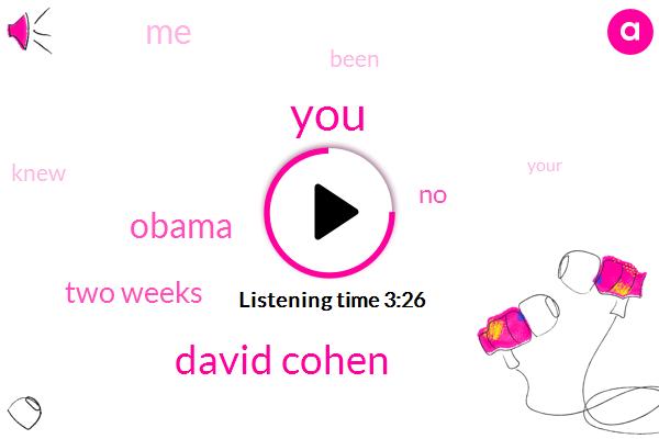 David Cohen,Barack Obama,Two Weeks