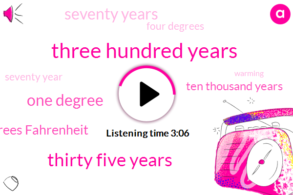 Three Hundred Years,Thirty Five Years,One Degree,Four Degrees Fahrenheit,Ten Thousand Years,Seventy Years,Four Degrees,Seventy Year