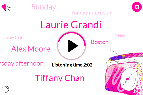 Laurie Grandi,Tiffany Chan,Alex Moore,Thursday Afternoon,Boston,Sunday,Sunday Afternoon,Cape Cod,Friday,Monday,Loria,Dolphins,67 Degrees,Patriots,Ntsb,Saturday,Saturday Afternoon,Tonight,66,Today