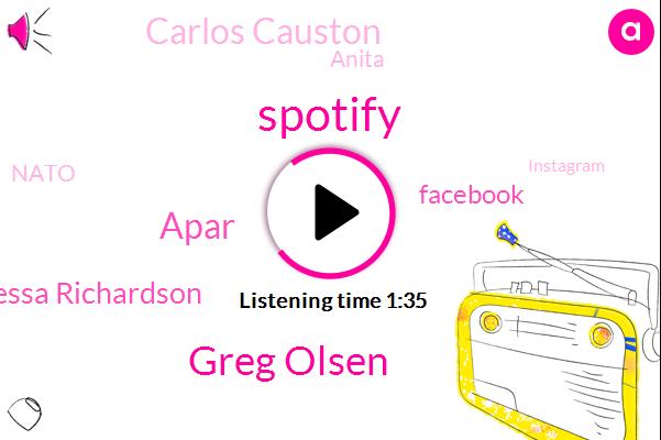 Spotify,Greg Olsen,Apar,Vanessa Richardson,Facebook,Carlos Causton,Anita,Nato,Instagram,Writer