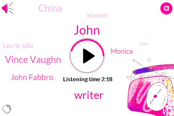 John,Writer,Vince Vaughn,John Fabbro,Monica,China,Kimmel,Laurie Julia,Jess,Executive Producer