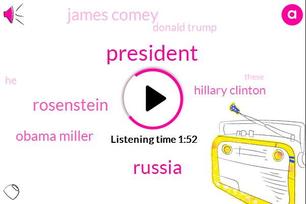 President Trump,Russia,Obama Miller,Rosenstein,Hillary Clinton,James Comey,Donald Trump