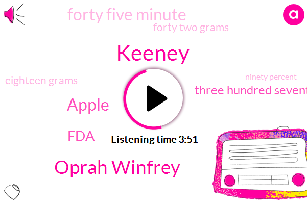 Keeney,Oprah Winfrey,Apple,FDA,Three Hundred Seventy Calories,Forty Five Minute,Forty Two Grams,Eighteen Grams,Ninety Percent