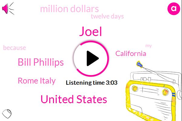 Joel,United States,Bill Phillips,Rome Italy,California,Million Dollars,Twelve Days