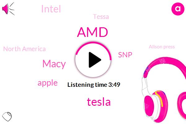 AMD,Tesla,Macy,Apple,Bloomberg,SNP,Intel,Tessa,North America,Alison Press,Dave Wilson,Saks,Invidia,Dr Dot,One Percent,Two Hundred Two Hundred Five Dollars,Two Hundred Five Dollars,Thirty Eight Percent