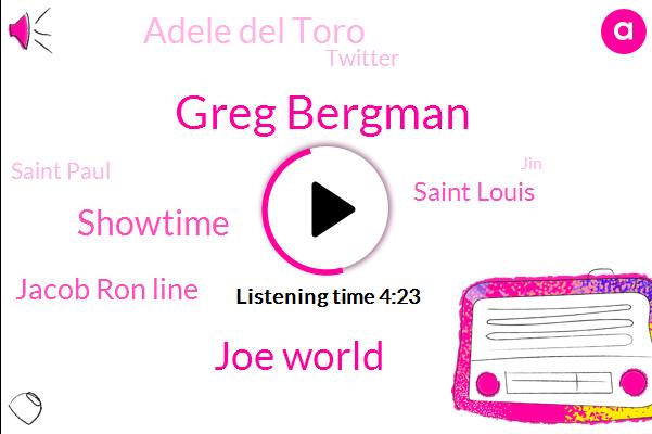 Greg Bergman,Joe World,Showtime,Jacob Ron Line,Saint Louis,Adele Del Toro,Twitter,Saint Paul,JIN,Phoenix,Boston,Espn,Bryan,Lakers,Bennington,Hockey,Saddam,Fox Sports