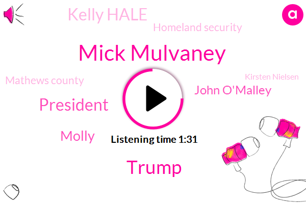 Mick Mulvaney,Donald Trump,President Trump,Molly,John O'malley,Kelly Hale,Homeland Security,Mathews County,Kirsten Nielsen,Megan Wise,ABC,Mark Remillard,NBC,Hanover,Officer,Acting Chief,Secretary,Billion Dollars,Sixty Degrees