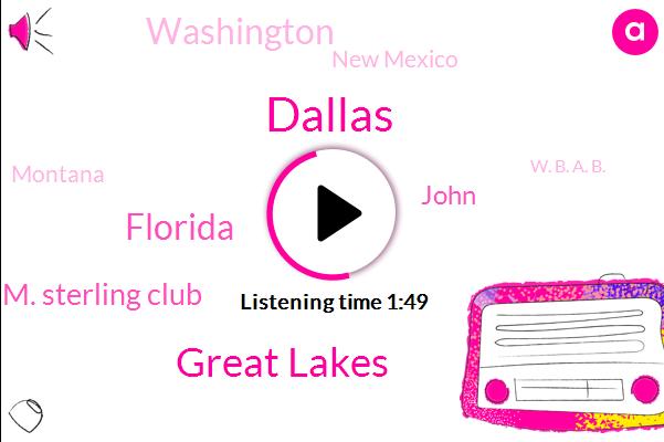 Dallas,Great Lakes,Florida,Walter M. Sterling Club,John,Washington,New Mexico,Montana,W. B. A. B.,Chicago,Tennessee,Carolinas,Rockies,Ontario,Snow Lake,Ireland