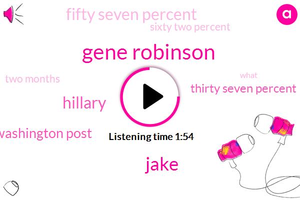 Gene Robinson,Jake,Hillary,Washington Post,Thirty Seven Percent,Fifty Seven Percent,Sixty Two Percent,Two Months