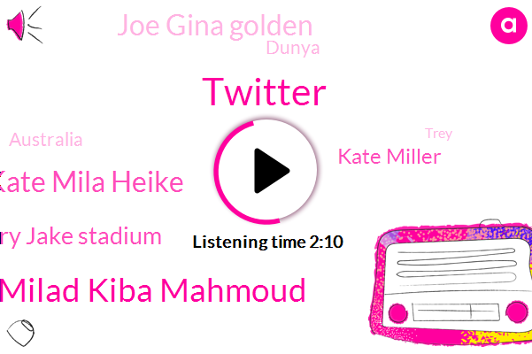 Twitter,Kate Milad Kiba Mahmoud,Kate Mila Heike,Rory Jake Stadium,Kate Miller,Joe Gina Golden,Dunya,Australia,Trey,Philip,Endo,Ben Ryan,Monica,Three Days