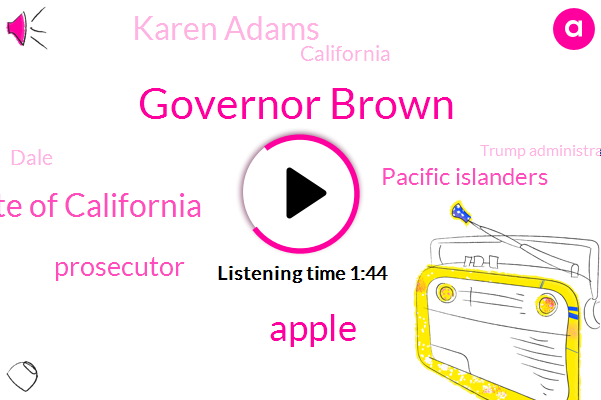 Governor Brown,Apple,Public Policy Institute Of California,Prosecutor,Pacific Islanders,Karen Adams,California,Dale,Trump Administration,Attorney,Sarah,Thirty Six Percent,One Hundred Years,Million Dollars