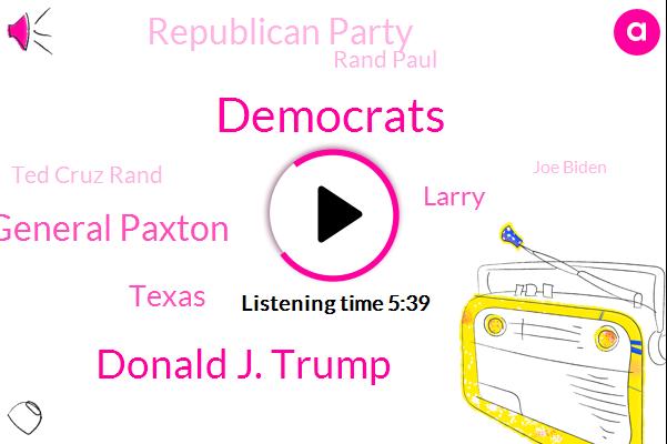 Donald J. Trump,Democrats,Attorney General Paxton,Texas,Larry,Republican Party,Rand Paul,Ted Cruz Rand,Joe Biden,Donald Trump Aziz,Patriot Party,Black Cruz,Attorney,Aubrey,Lake Fork,Mr Roberts,Sergeant Major,Officer,EO