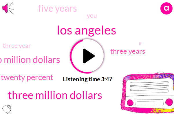 Los Angeles,Three Million Dollars,Two Million Dollars,Twenty Percent,Three Years,Five Years,Three Year