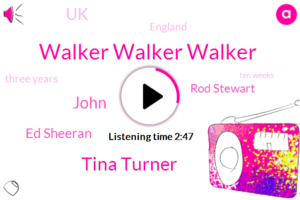 Walker Walker Walker,Tina Turner,John,Ed Sheeran,Rod Stewart,UK,England,Three Years,Ten Weeks