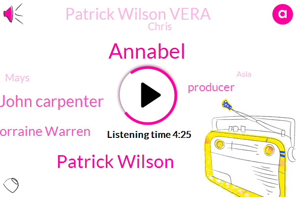 Annabel,Patrick Wilson,John Carpenter,Lorraine Warren,Producer,Patrick Wilson Vera,Chris,Mays,Asia,NFL,ED,Executive,Executive Producer.,Ten Year