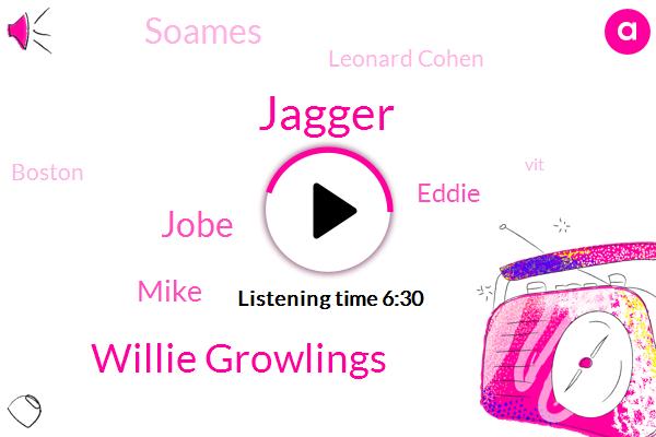 Jagger,Willie Growlings,Jobe,Mike,Eddie,Soames,Leonard Cohen,Boston,VIT,Stevens,San Francisco,MOE,David Bowie,O'brien,Johnson,MUN,Lamma,Glenn Fry,Twenty Minutes,One Day