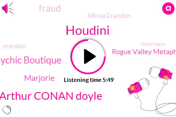 Houdini,Sir Arthur Conan Doyle,Psychic Boutique,Marjorie,Rogue Valley Metaphysical Library,Fraud,Minna Crandon,Crandon,Harry Harry,Walter,Mina,Europe,Leroy Crandon,Steiner Weiss,Sir Arthur Conon,United States,Beyonce,Cecilia,Genie