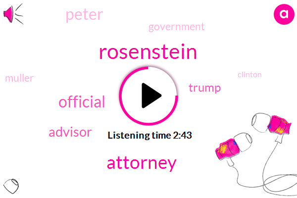 Rosenstein,Attorney,Official,Advisor,Donald Trump,Peter,Muller,Clinton,Paul Manafort,Special Counsel,Government,Clinton Foundation,Professor,George Popadopoulos,Clintons,CIA,FBI,Government Contractor,Christopher Steele