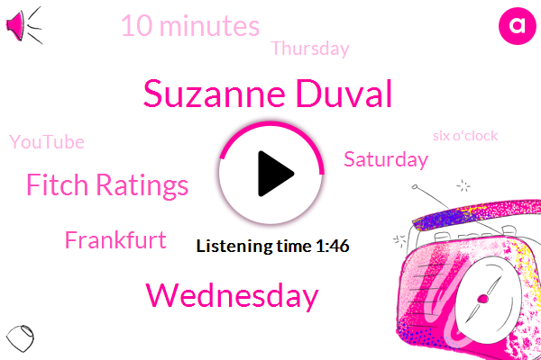 Suzanne Duval,Wednesday,Fitch Ratings,Frankfurt,Saturday,10 Minutes,Thursday,Youtube,Six O'clock,Tomorrow,65,Louisville,Governor,Bashir,59,Andy Bashir,46,Mother's Day,66 Degrees