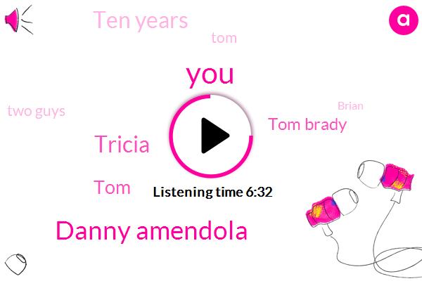 Danny Amendola,Tricia,TOM,Tom Brady,Ten Years,Two Guys,Brian,Last Year,Devon,Brady,ONE,Devin Mccourty,Julian,Each Year,Alex,Willie,Brady Law,This Year