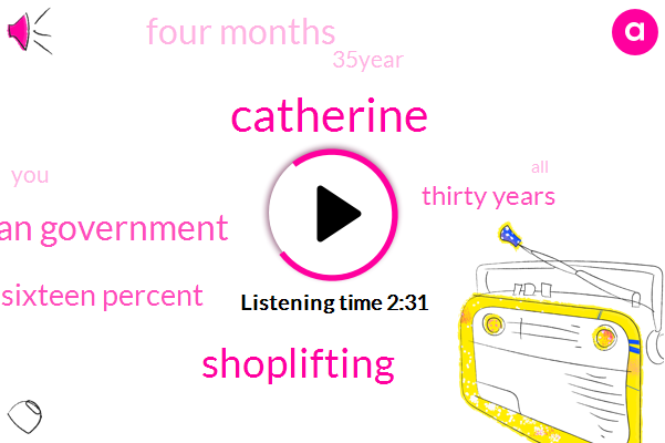 Catherine,Shoplifting,Norwegian Government,Sixteen Percent,Thirty Years,Four Months,35Year