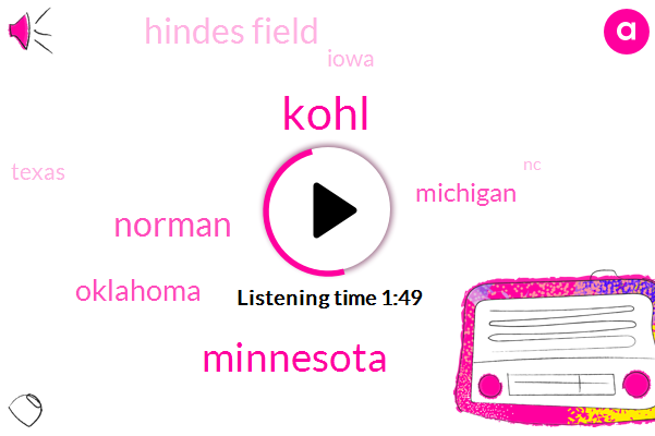 Kohl,Minnesota,Norman,Oklahoma,Hindes Field,Michigan,Iowa,Texas,NC,Football,10 Years