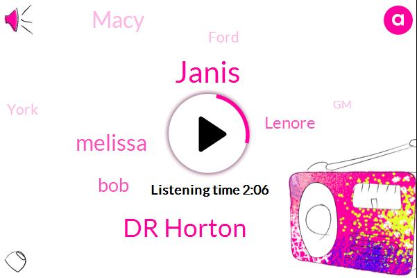 Dr Horton,Melissa,Macy,Janis,BOB,GM,Motown,Ford,Burlington,York,Lenore,Twenty Percent,Two Days