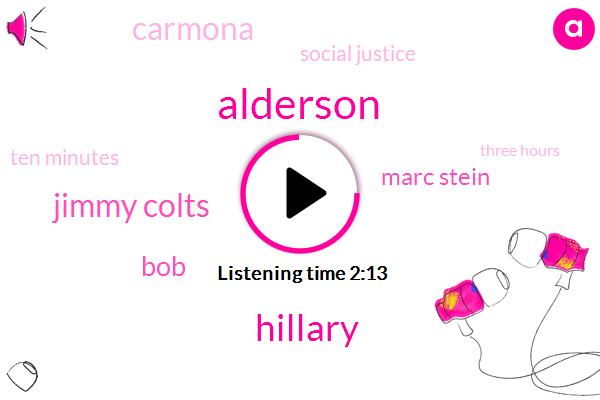 Alderson,Hillary,Jimmy Colts,BOB,Marc Stein,Carmona,Social Justice,Ten Minutes,Three Hours
