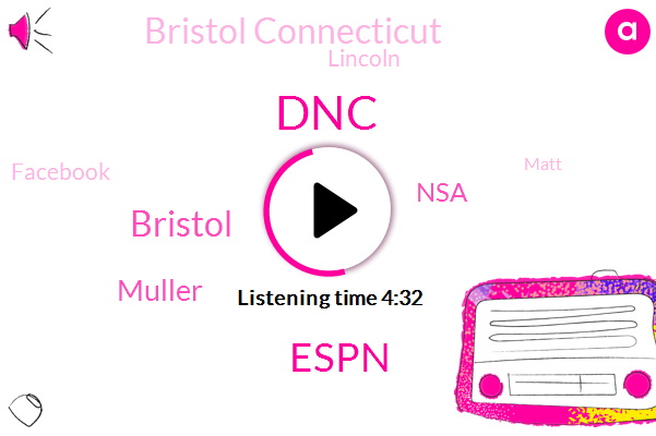 DNC,Espn,Muller,Bristol,NSA,Bristol Connecticut,Lincoln,Facebook,Matt,FBI,United States,Hillary Clinton,GRU,David,Donald Trump,Hundred Fifty Thousand Dollars,Three Hours