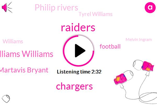Raiders,Mike Williams Williams,Chargers,Martavis Bryant,Football,Philip Rivers,Tyrel Williams,Williams,Melvin Ingram,Smith,Marshawn Lynch,NFL,Derek,LES,Clemson,Forty Eight Yard,Twenty Five Yard,Thirty Yard