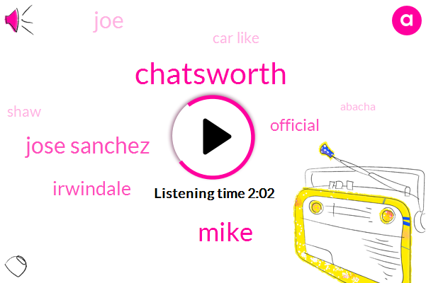 Chatsworth,Mike,Jose Sanchez,Irwindale,Official,JOE,Car Like,Shaw,Abacha