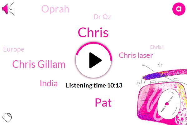 Chris,PAT,Chris Gillam,India,Chris Laser,Oprah,Dr Oz,Europe,Chris I,Rick,Indiana,Asia,Chile,China,California