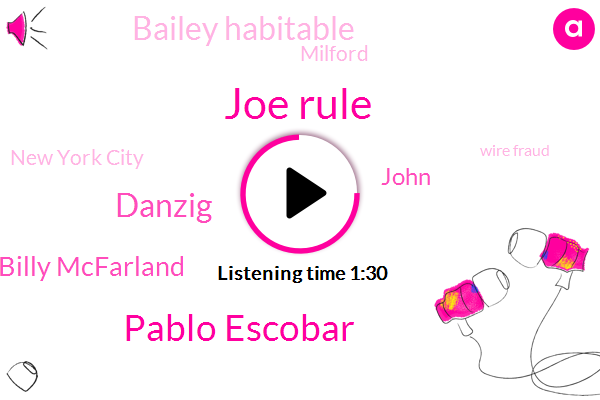 Joe Rule,Milford,Pablo Escobar,Danzig,Billy Mcfarland,Wire Fraud,New York City,Bailey Habitable,John,Twelve Thousand Dollars,Hundred Million Dollar,Six Years