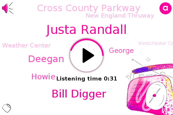 Cross County Parkway,Westchester County,Bronx,Justa Randall,Bill Digger,New England Thruway,West Bank,Deegan,Howie,Weather Center,George