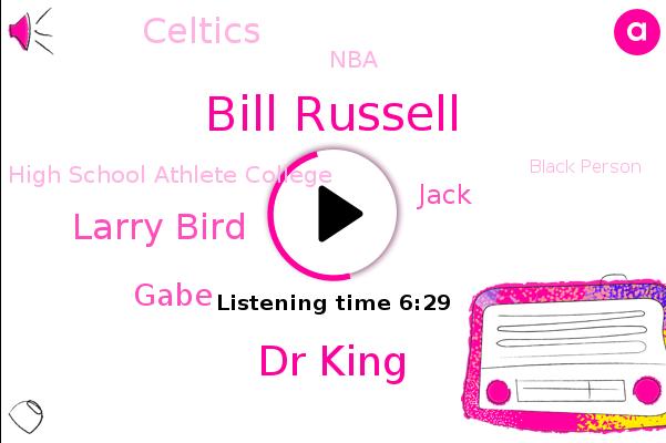 Celtics,Bill Russell,Dr King,NBA,High School Athlete College,United States,Black Person,Boston,Larry Bird,MVP,Lakers,Ucla,Gabe,A. Set,Jack