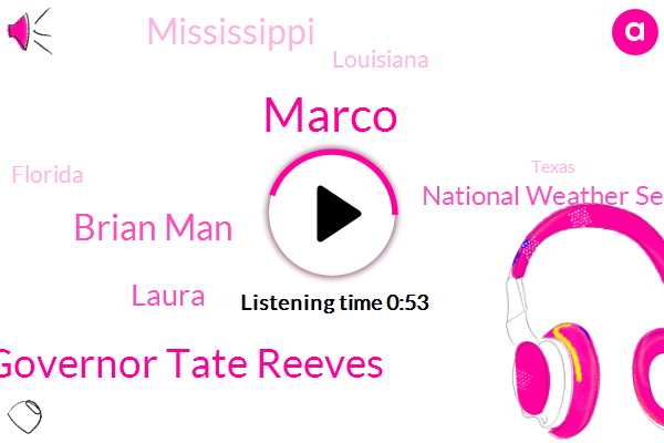 National Weather Service,Marco,Mississippi,Governor Tate Reeves,Brian Man,Louisiana,NPR,Laura,Florida,Texas