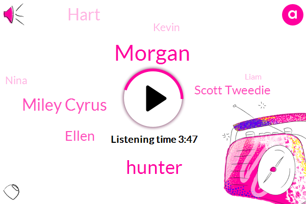 Miley Cyrus,Ellen,Scott Tweedie,Hart,Kevin,Intern,Nina,Morgan,Hunter,Partner,Liam,Howard