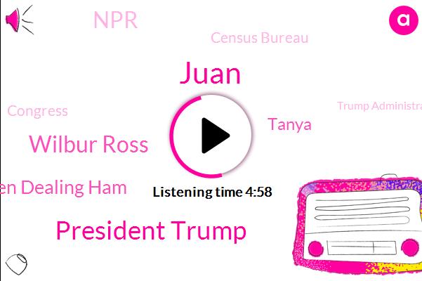 Census Bureau,Congress,NPR,Trump Administration,President Trump,Juan,Wilbur Ross,Associate Director,Director,Stephen Dealing Ham,Tanya,Supreme Court,Siri,Representative,Field Operations