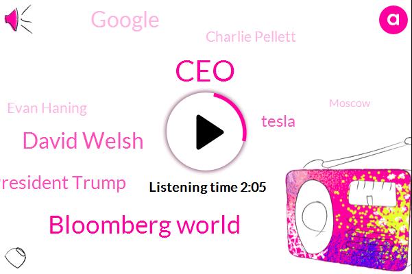 Bloomberg,CEO,Bloomberg World,David Welsh,President Trump,Tesla,Google,Charlie Pellett,Evan Haning,Moscow,Elon Musk,Sundar Pichai,Twitter,Jill Snider,Bureau Chief,Herat,SEC,Detroit
