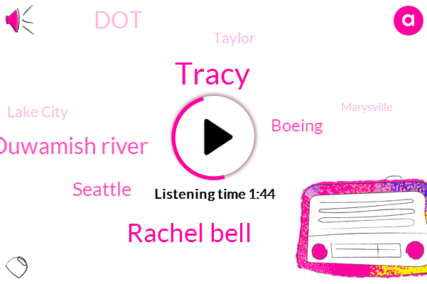 Tracy,Rachel Bell,Duwamish River,Seattle,Boeing,DOT,Taylor,Lake City,Marysville,Seventy Second
