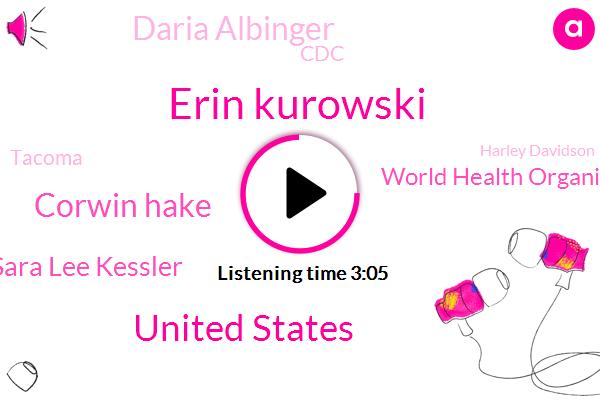 Komo,Erin Kurowski,United States,Corwin Hake,Sara Lee Kessler,World Health Organization,ABC,Daria Albinger,CDC,Tacoma,Harley Davidson,NBC,BEN,J D R F,Jerry